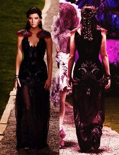 """Katniss Everdeen's black gown from """"Hunger Games: Catching Fire."""" This is what Katniss wore to President Snow's Ball. Jennifer Lawrence, Hunger Games Catching Fire, Hunger Games Trilogy, Katniss Everdeen, Trendy Dresses, Prom Dresses, Disney Dresses, Dress Prom, Party Dress"""