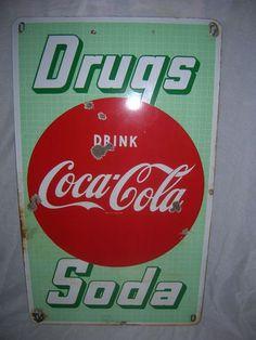 Vintage Rare Porcelain Drink Coca Cola Pharmacy sign