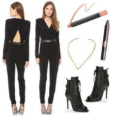 Shiloh Cutout Jumpusuit by Rachel Zoe, Pigment Pencil in Syrah by Bite, Tilda Necklace by Jennifer Zuener, Maggie Peep Toe Booties by Rachel Zoe, Color Chameleon in Black Diamonds by Charlotte Tilbury
