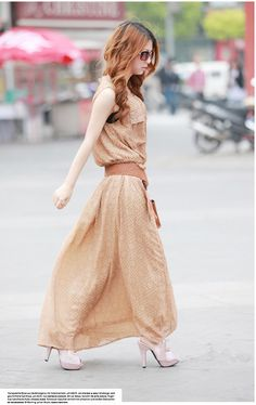 Color: Khaki Skirt Length: Skirt Skirt Type: Big Pendulum Thickness: Normal Sleeve Length: Sleeveless Size: average size skirt length 130cm,bust 90cm,shoulder width 35cm Style: sling section For the season: summer Fabric: chiffon / georgette Style: Korean Pattern: Solid / Blank Skirt ...