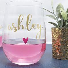 Custom Wine Glasses With Little Heart - ON SALE! by Bondi Bella Boutique