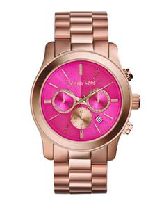 Y2BPB Michael Kors Rose Golden Chronograph Watch, Pink