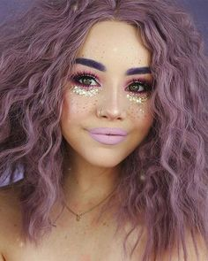 Purple Curly Short Synthetic Lace Front Wigs Bob Hairstyle can find Rave makeup and more on our website. Rave Make Up, Music Festival Makeup, Festival Makeup Glitter, Rave Hair, Make Carnaval, Purple Wig, Eye Makeup Art, Glitter Face Makeup, Alien Makeup