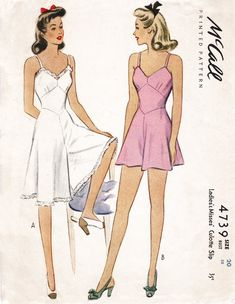 A charming lingerie pattern. Romper with fitted waist, hemline in two lengths. 1940s Fashion, Fashion Sewing, Diy Fashion, Ideias Fashion, Vintage Fashion, Origami Fashion, Lingerie Patterns, Vintage Dress Patterns, Clothing Patterns