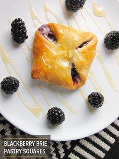 Super easy Blackberry Brie Pastry Squares that take 30 minutes to make! Use a ready-made pastry dough with this gourmet filling. Pillsbury Dough, Pillsbury Recipes, Blackberry Recipes, Great Appetizers, Quick Easy Meals, Dessert Recipes, Easy Desserts, Sweet Tooth, Sweet Treats