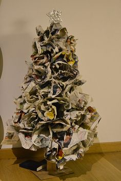 How to Make a Newspaper Christmas Tree | Newspaper, Magazines and ...