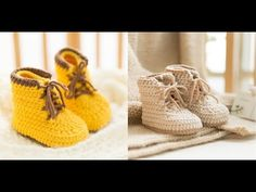 How to Crochet Baby Shoes: Baby Martin boots 2/3 - YouTube