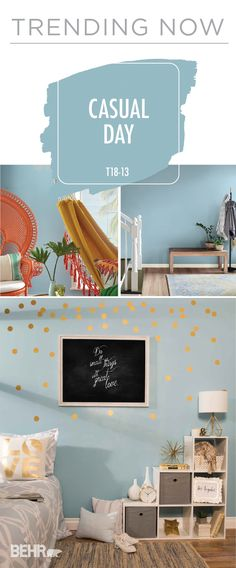 Trend alert! BEHR Paint in Casual Day is a light blue color that we think you'll be seeing in interior design everywhere. This pastel hue is the perfect way to give your home an easy update this spring. Whether your style is chic and glam or tropical and trendy, this paint color won't disappoint!