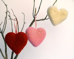 Felted Heart Ornaments Christmas Decorating Needle by Fairyfolk, $21.00