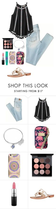 """""""DAY THREE// OUT TO EAT"""" by eadurbala08 ❤ liked on Polyvore featuring American Eagle Outfitters, H&M, Alex and Ani, Lilly Pulitzer, Agent 18, MAC Cosmetics, Jack Rogers and aweekatthebeachcontest"""