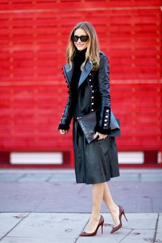 Modest & Chic: all black everything with a pop of burgundy with the shoe. love a long leather skirt