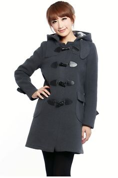 Hot Women Duffle Coat  Horn Button Wool Coats lady Jacket Spring Slim Trench Coat Outdoor Overcoat