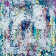 Morning Mist II 60c60 cm - Art by Lønfeldt - original abstract painting, modern textured art, colorful