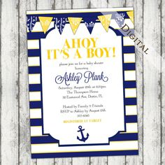 nautical theme baby boy shower invitation with banner, anchor, GREEN (color change) and navy, stripes, ahoy its a boy, digital, printable file (item172)