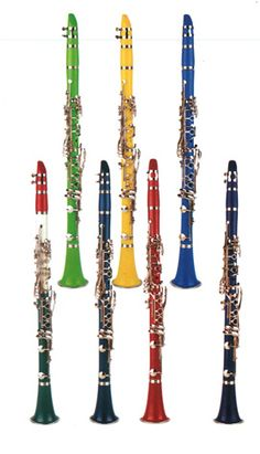 Clarinets in rainbow colors, festive!