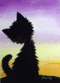 Original Art ACEO, Black Cat Sunset, Acrylic Painting by Shelly Mundel cat canvas painting easy ACEO Original Painting - Black Cat Silhouette - Art by Shelly Mundel Halloween Illustration, Illustration Landscape, Illustration Art, Black Cat Silhouette, Silhouette Painting, Cat Art Print, Halloween Art, Art Plastique, Painting & Drawing