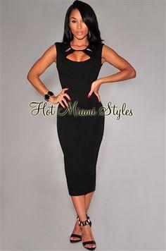Black Cut-Out Neckline Midi Dress