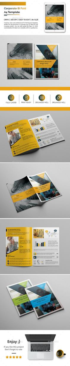Buy Corporate Bi-fold Brochure Template 06 by Creativity-Design on GraphicRiver. Corporate Bi-fold Brochure Template 06 This layout is suitable for any project purpose. Very easy to use and customis. Bi Fold Brochure, Corporate Brochure, Brochure Design, Brochure Template, Menu Templates, Magazine Examples, Corporate Profile, Advertising Tools, Catalog Design