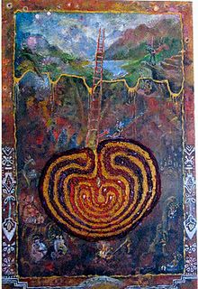 """Having a Cesarean-in-Awareness by Virginia Bobro and Donna Moore Image:""""Mexican Labyrinth of Birth,"""" by Pam England, acrylic paint. Mother Art, Birth Mother, Labyrinth Maze, Birth Art, Ancient Symbols, Fractal Art, Art Forms, Artsy, Mexican"""