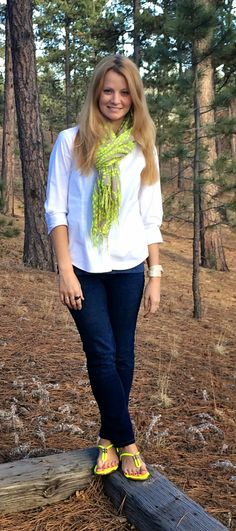 Sweet Bananie [3.8.15] from C to D - a #transitional look, featuring an #embroidered #tanktop under a white #buttonup, dark #skinnyjeans, an #abstract-ish print #scarf & #neon sandals