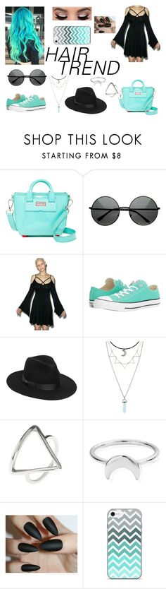 """""""She's Out Of Her Mind// Blink 182"""" by justanotherhawksfan on Polyvore featuring Hunter, Killstar, Converse, Lack of Color, Latelita, ChloBo, hairtrend and rainbowhair"""
