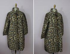 1950s Leopard Print Swing Coat / 50s Faux by livinvintageshop