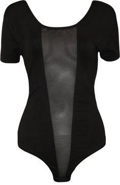 WearAll Plus Size Women's Mesh Panel Short Sleeve Bodysuit - Black - US 12-14 (UK 16-18)