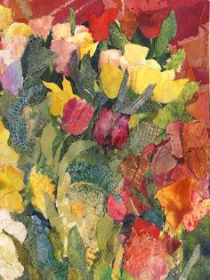 'Tulips' Rosie Britton Mixed media collage Textiles, Mixed Media Collage, Medium Art, Painting & Drawing, Tulips, Drawings, Artist, Textile Design, Artists