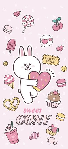 Cony from Line the app 💛 Emoji Wallpaper, Kawaii Wallpaper, Pink Wallpaper, Line Cony, Friends Wallpaper, Bare Bears, Line Friends, Cute Bunny, Cute Drawings