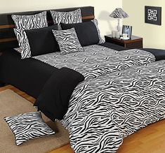 Black & White Zebra Print Bed Sheets- The incredible value in terms of quality, glamour and price. Bedroom Comforter Sets, Quilt Bedding, Duvet Sets, Linen Bedding, Blue Comforter, Bed Linen, Double Duvet Set, Double Bed Sheets, Bed Sheet Sets