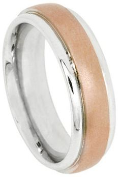 Mens 10K Rose And White Gold Wedding Band Ring by TallieJewelry
