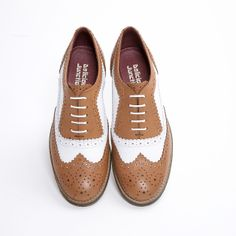 Sedgwick brogue shoe by Delicious Junction. Tan & white Oxford lace up brogue lace up. Ladies Brogues, Oxford White, Leather And Lace, Oxford Shoes, Dress Shoes, Lace Up, Lady, How To Wear, Fashion