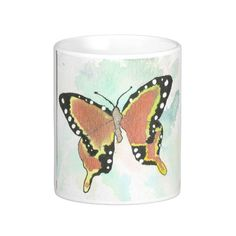 Ornge Butterfly White 11  or 15 oz Classic Mug From an original Watercolor Painting Garden Nature Floral Bird Coffee Tea by MBrothertonArt on Etsy