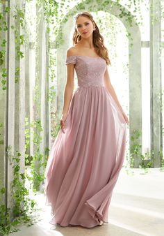 Elegant Off The Shoulder Bridesmaid Dress Featuring a Chantilly Lace Bodice, and Flowy Chiffon Skirt with Pockets. View the Chantilly Lace Swatch Card for Color Options. Also Available in Sizes as Style Shown in Desert Rose. Mori Lee Bridesmaid Dresses, Lace Bridesmaid Dresses, Prom Dresses, Wedding Dress Hire, Wedding Dresses, Look Chic, Elegant Dresses, Bridal Gowns, Swatch