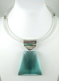 Judith Hendler Sterling Teal Lucite Prism Necklace