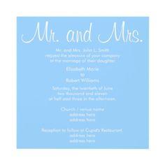 Mr. and Mrs. Carolina Blue Wedding Invitation by Sweet Iced Tea