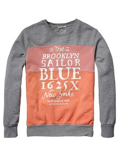 Collection - Colour block crew neck sweater with artwork on the chest - Sweaters - Official Scotch & Soda Online Fashion & Apparel Shops color combo for pieced polo