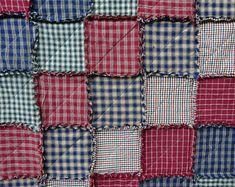 Rag Quilt, Patchwork Rag Quilt, Homespun Rag Quilt, Rag Quilt Throw, Lap Blanket, Country Tablecloth, Primitive Rag Quilt, Picnic Blanket