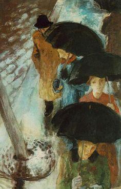 Stephen Szonyi (Hungarian Painter and Graphic Designer, 1894 - - Umbrellas Art Et Illustration, Illustrations, Art Amour, Rain Art, Umbrella Art, Parasol, Art Design, Oeuvre D'art, Love Art