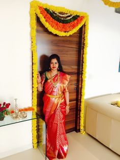 Red Kanjeevaram saree