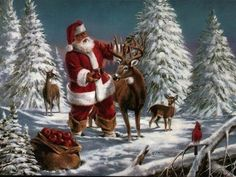 Jultomten matar rådjuren (Santa Claus with deer) Merry Christmas Santa, Christmas Deer, Father Christmas, Christmas Music, Retro Christmas, Christmas Pictures, White Christmas, Christmas Time, Christmas Crafts