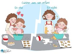 Kids' humour: only parents can relate! Humour Parent, Funny French, Baking With Kids, Mother And Baby, Love Is Sweet, Comic Strips, Parents, Poster, Family Guy