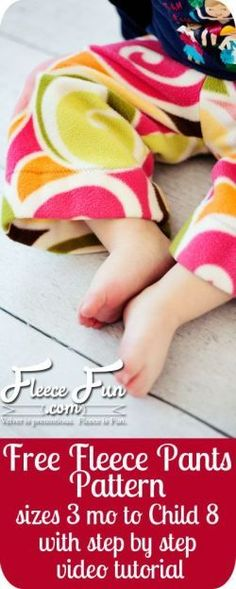 Wow one pattern piece - super easy to sew and video tutoiral.  Love! Child's basic Fleece Pants   free child pants patterns I http://www.fleecefun.com