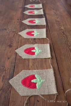 Vintage-style strawberry burlap banner from Little Maisie-strawberry party! First Birthday Parties, Birthday Party Decorations, First Birthdays, Party Themes, Themed Parties, Birthday Bunting, Party Ideas, Strawberry Crafts, Strawberry Decorations