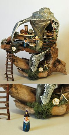 "Seashell and driftwood ""fairy"" house for gnome wizard"