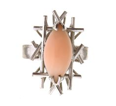 Angel Skin Coral Ring In 14k Whtie Gold size 5.5 #Unbranded #Solitaire