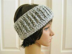 Grey Crocheted Earwarmer-Gray Crochet Head by RoseJasmine on Etsy