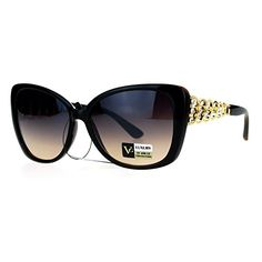 a62f7bc7a653 VG Eyewear Womens Metal Chain Arm Large Rhinestone Butterfly Sunglasses  Black Brown Gold -- Read