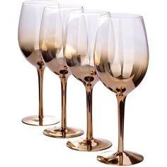 Gold Ombre Wine Glasses &Ndash; Set Of 4 (1.880 RUB) ❤ liked on Polyvore featuring home, kitchen & dining, drinkware, kitchen, set of 4 wine glasses, wine glasses set, colored wine glass, wine glass and colored wine glasses
