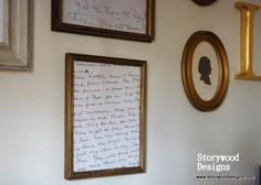 A lovely idea to add to a family memory wall... From Storywood Designs - Snippets of her beloved grandmother's letters  (copied, of course) make an easy, Inexpensive and meaningful addition to the display.